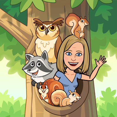 Mrs. Stolbom surrounded by animals in a tree