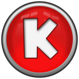 letter K in red circle